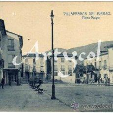 Postales: BONITA Y RARA POSTAL - VILLAFRANCA DEL BIERZO (LEON) - PLAZA MAYOR - AMBIENTADA . Lote 34163872