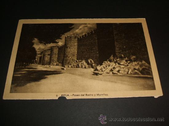 AVILA PASEO DEL RASTRO Y MURALLAS (Postales - España - Castilla y León Antigua (hasta 1939))