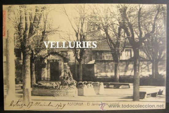 ASTORGA. EL JARDIN PARTE CENTRAL, Nº 3. CIRCULADA 1909 (Postales - España - Castilla y León Antigua (hasta 1939))