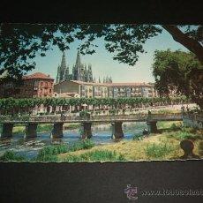 Postales: BURGOS RIO ARLANZON Y AVENIDA DEL GENERALISIMO 1960. Lote 37016743