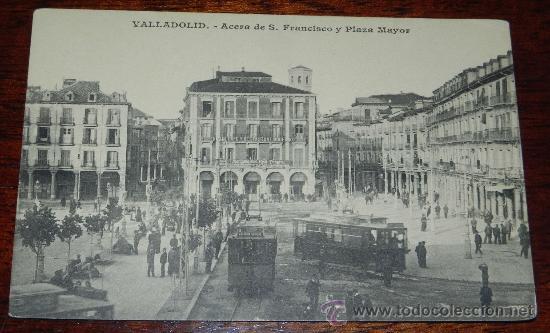 ANTIGUA POSTAL DE VALLADOLID, ACERA DE SAN FRANCISCO Y PLAZA MAYOR, J. H. VALLADOLID, SIN CIRCULAR (Postales - España - Castilla y León Antigua (hasta 1939))