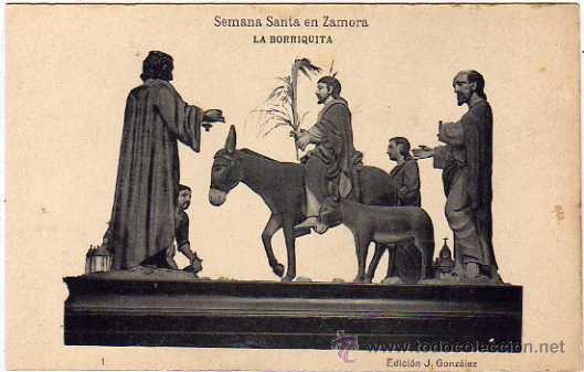 SEMANA SANTA ZAMORA. ED J GONZALEZ. 1 LA BORRIQUITA. FOTOTIPIA HAUSER Y MENET. (Postales - España - Castilla y León Antigua (hasta 1939))