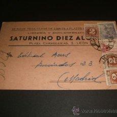 Postales: LEON ENTERO POSTAL LIBRERIA LA Y ENCUADERNACION SATURNINO DIEZ PLAZA CARNECERIAS 1947. Lote 39149717