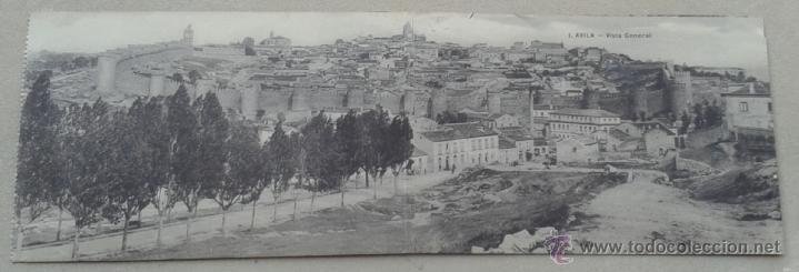 POSTAL DOBLE ANTIGUA ÁVILA. VISTA GENERAL. (Postales - España - Castilla y León Antigua (hasta 1939))