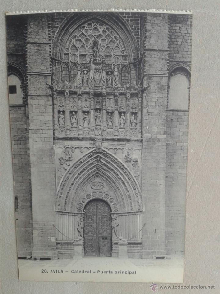 POSTAL ANTIGUA ÁVILA. CATEDRAL. PUERTA PRINCIPAL. (Postales - España - Castilla y León Antigua (hasta 1939))