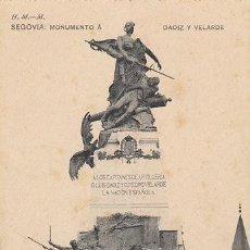 Postales: SEGOVIA, MONUMENTO A DAOIZ Y VELARDE, EDITOR: HAUSER Y MENET. Lote 41009562