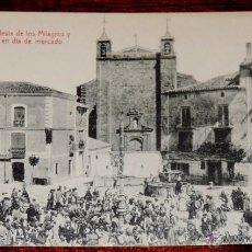 Postales: AGREDA (SORIA) J.T.D., LA IGLESIA DE LOS MILAGROA Y PLAZA MAYOR EN DIA DE MERCADO, EDICION TUDELA, S. Lote 41029906