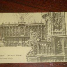 Postales: ANTIGUA POSTAL DE LEÓN. CORO DE SAN MARCOS. CLICHE DE GRACIA. ED. E. J. G. PARIS. SIN CIRCULAR. Lote 42247913