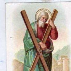 Postales: ESTAMPA RELIGIOSA DE SAN ANDRÉS CON PUBLICIDAD DE LA VERDAD FÁBRICA DE CHOCOLATES ASTORGA. Lote 43787854