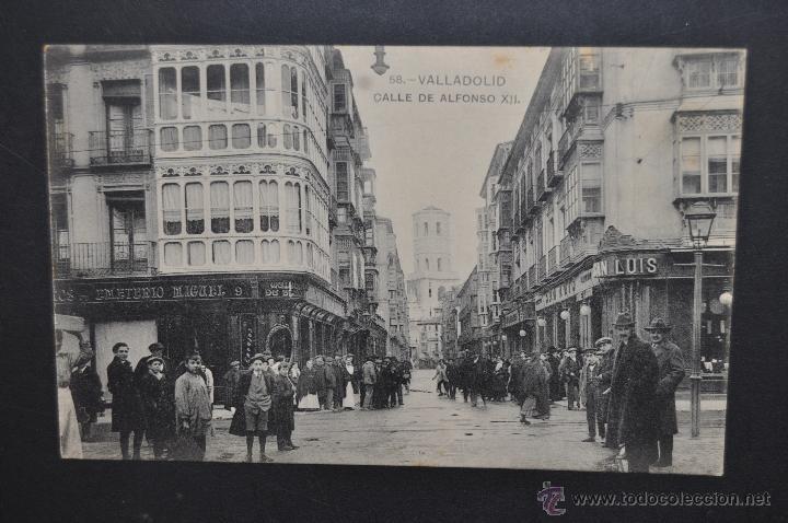 ANTIGUA POSTAL DE VALLADOLID. CALLE DE ALFONSO XII. FOTPIA. HAUSER Y MENET. SIN CIRCULAR (Postales - España - Castilla y León Antigua (hasta 1939))