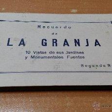 Postales: RECUERDO DE LA GRANJA VISTAS DE SUS JARDINES Y MONUMENTALES FUENTES, LOS MEDRANOS TIENDA DE REGALOS. Lote 47066297
