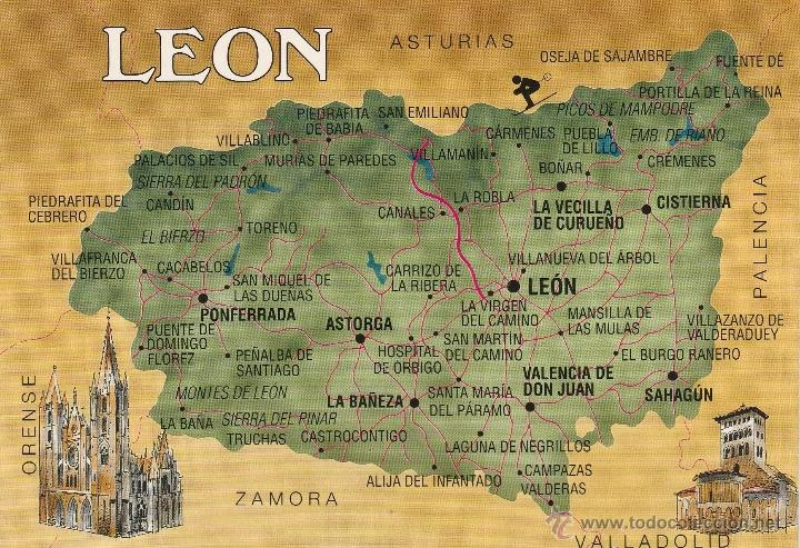 Nº 21347 Postal Leon Mapa Buy Postcards From Castile And Leon At