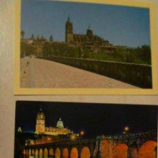 Postales: LOTE DE 2 POSTALES DE SALAMANCA : PUENTE ROMANO DE DIA Y DE NOCHE. Lote 47294482