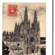 Postales: TARJETA POSTAL DE LA CATEDRAL DE BURGOS DE 1908 CON SELLO ALFONSO XIII CADETE EDIFIL Nº 243. Lote 48286550