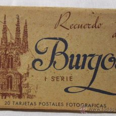 Postales: BLOC ACORDEÓN 20 TARJETAS POSTALES FOTOGRÁFICAS RECUERDO DE BURGOS - HAUSER Y MENET I SERIE. Lote 49686201