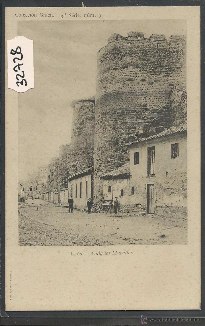 LEON - ANTIGUAS MURALLAS - REVERSO SIN DIVIDIR - THOMAS - (32728) (Postales - España - Castilla y León Antigua (hasta 1939))