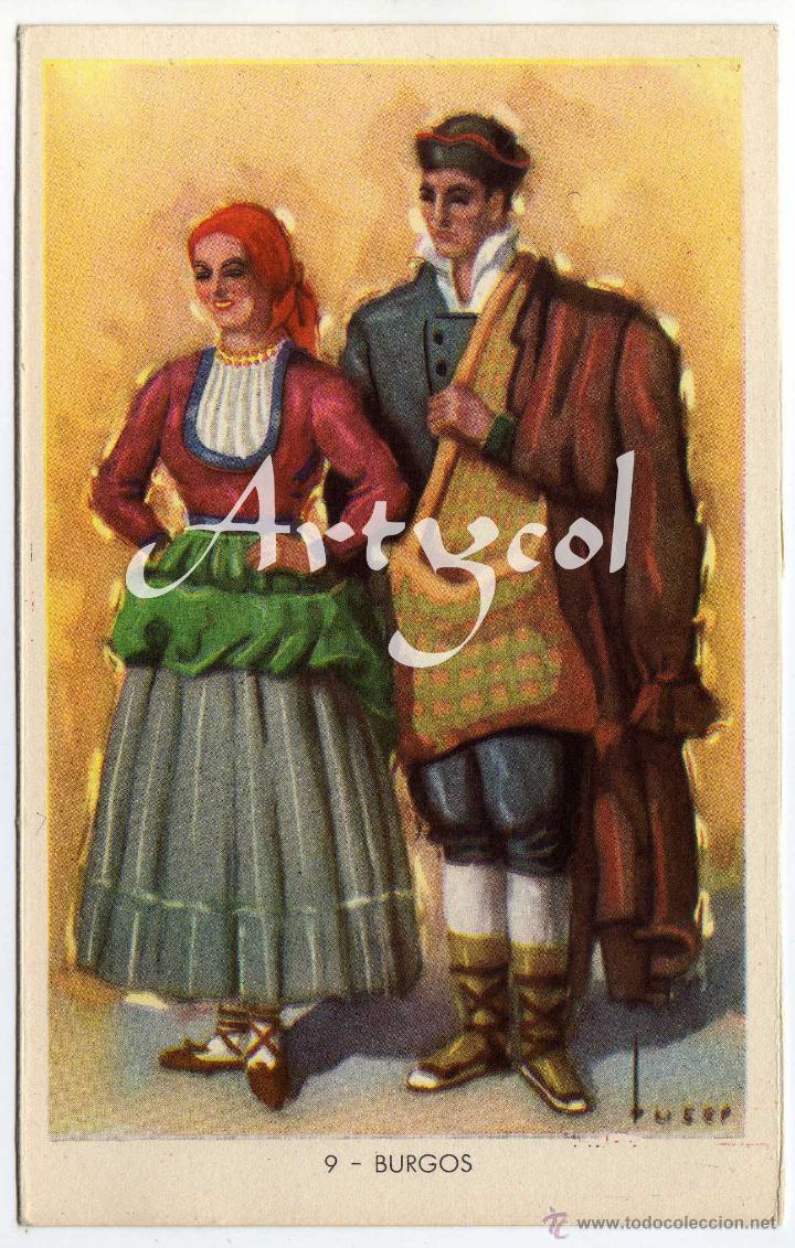 PRECIOSA POSTAL - BURGOS - PAREJA ATAVIADOS CON TIPICO TRAJE REGIONAL (Postales - España - Castilla y León Antigua (hasta 1939))