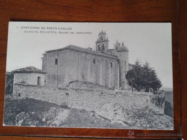 ANTIGUA POSTAL SANTUARIO SANTA CASILDA ABSIDE SANTUARIO BRIVIESCA BURGOS (Postales - España - Castilla y León Antigua (hasta 1939))