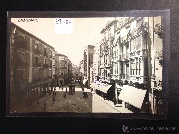 ZAMORA - PLAZA DE SAGASTA Y CALLE RENEVA - FOTOGRAFICA SELLO EN SECO ROISIN - (39023) (Postales - España - Castilla y León Antigua (hasta 1939))