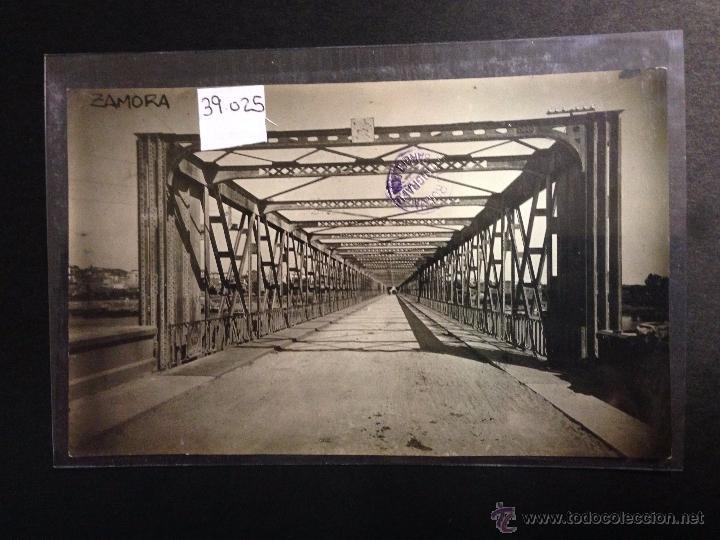 ZAMORA - PUENTE DE HIERRO SOBRE EL DUERO - FOTOGRAFICA SELLO EN SECO ROISIN - (39025) (Postales - España - Castilla y León Antigua (hasta 1939))