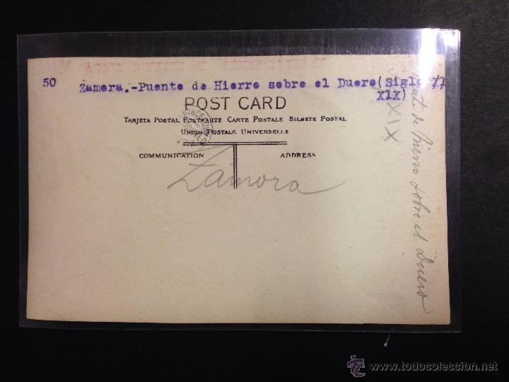 Postales: ZAMORA - PUENTE DE HIERRO SOBRE EL DUERO - FOTOGRAFICA SELLO EN SECO ROISIN - (39025) - Foto 2 - 52978029