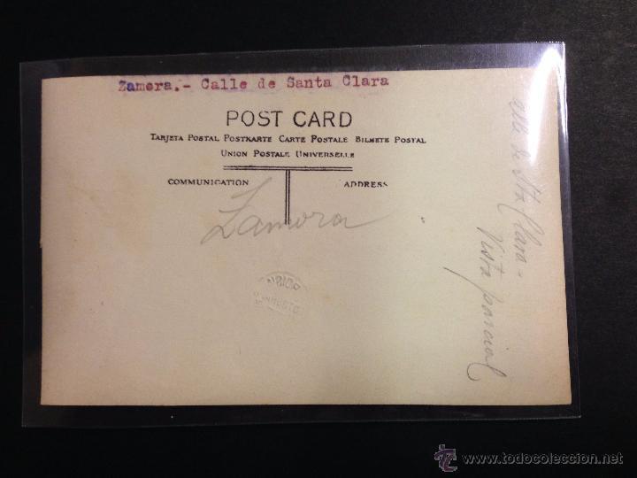 Postales: ZAMORA - CALLE DE SANTA CLARA - FOTOGRAFICA SELLO EN SECO ROISIN - (39027) - Foto 2 - 52978065