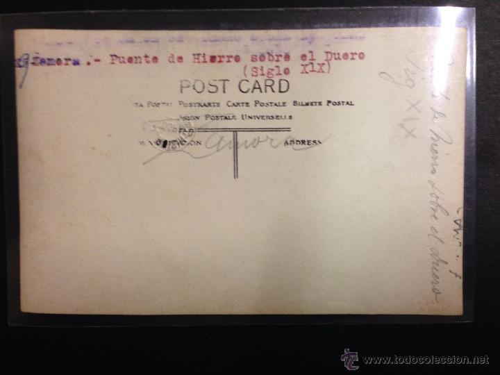 Postales: ZAMORA - PUENTE DE HIERRO SOBRE EL DUERO - FOTOGRAFICA SELLO EN SECO ROISIN - (39030) - Foto 2 - 52978121