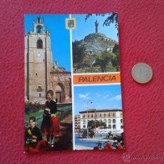 Postales: POSTAL POSTCARD PALENCIA CATEDRAL CRISTO DEL OTERO PLAZA LEON Y CORREOS FISA ESCUDO DE ORO. Lote 54785943