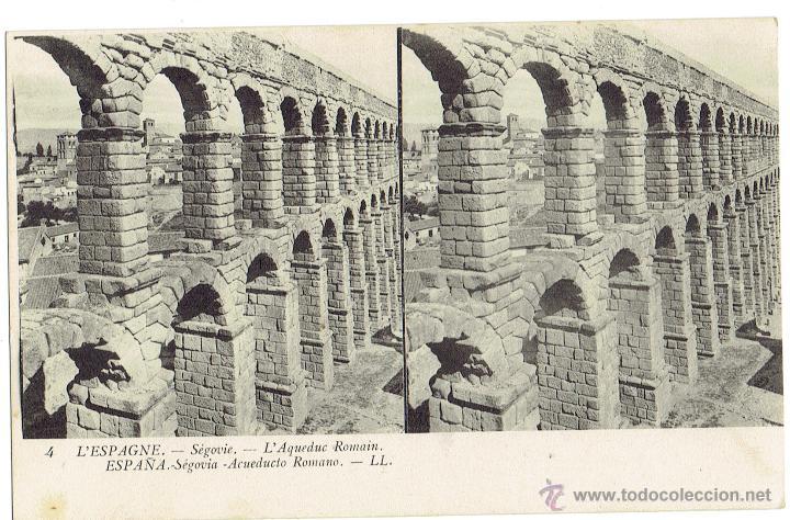 PS6031 SEGOVIA 'ACUEDUCTO ROMANO'. ESTEROSCÓPICA. LL. SIN CIRCULAR. PRINC. S. XX (Postales - España - Castilla y León Antigua (hasta 1939))