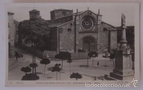 POSTAL AVILA - IGLESIA DE SAN PEDRO Y MONUMENTO A SANTA TERESA - ED L. ROISIN (Postales - España - Castilla y León Moderna (desde 1940))