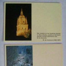 Postales: LOTE DE 2 POSTALES DISTINTAS DE SALAMANCA CON TEXTO LITERARIO. Lote 56261734