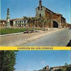 Postales: CARRIÓN DE LOS CONDES - 5 PLAZA DE SANTA MARÍA Y PUENTE SOBRE EL RÍO CARRIÓN. Lote 57153423