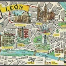 Postales: LEÓN - MAPA DE LA CIUDAD - FRESNO - EDITADA, 1964 -. Lote 57812980