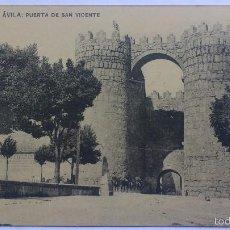 Postales: ANTIGUA POSTAL AVILA - PUERTA DE SAN VICENTE, FOTOTIPIA DE HAUSER Y MENET. Lote 57818735