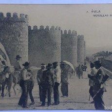 Postales: ANTIGUA POSTAL AVILA - MURALLAS ANTIGUAS, FOTOTIPIA DE HAUSER Y MENET. Lote 57818932