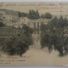 Postales: POSTAL SEGOVIA - RIO EDESMA Y CASA DE LA MONEDA, CIRCULADA CO SELLO, HAUSER Y MENET 1465, . Lote 57954034