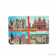 Postales: POSTAL ANTIGUA LEON CIRCULADA ASTORGA PALACIO AYUNTAMIENTO CATEDRAL PALACIO Y PANORAMICA. Lote 58704737