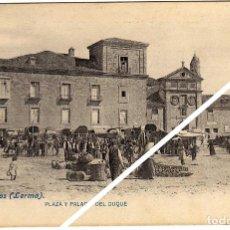 Postales: MAGNIFICA POSTAL - LERMA (BURGOS) - PLAZA Y PALACIO DEL DUQUE - MERCADILLO - MUY AMBIENTADA. Lote 49715697