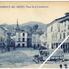 Postales: PRECIOSA POSTAL - VILLAFRANCA DEL BIERZO (LEON) - PLAZA DE LA CONSTITUCION - AMBIENTADA - CAMIONES. Lote 30130146