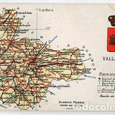 Postales: VALLADOLID MAPA Y ESCUDO EDITOR ALBERTO MARTIN. SIN CIRCULAR. Lote 69952293