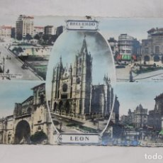 Postales: POSTAL RECUERDO DE LEON, 5 VISTAS, COLOREADA, AÑOS 60, DESTINO MANISES. Lote 78651081