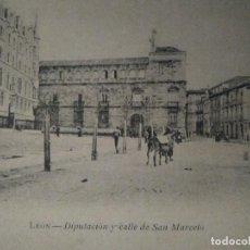 Postales: DIPUTACIÓN Y CALLE DE SAN MARCELO. LEÓN. SIN CIRCULAR.. Lote 93258035