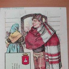 Postales: POSTAL SERIE CALLEJA TIPOS COMICOS Nº 9 BURGOS REVERSO SIN DIVIDIR - PERFECTA CONSERVACION CASTILLA. Lote 103592655