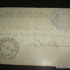 Postales: SALAMANCA MARCA POSTAL ADMINISTRACION PRINCIPAL DE CORREOS Y MATASELLOS FECHADOR, SIN FRANQUEO 1904. Lote 103869319