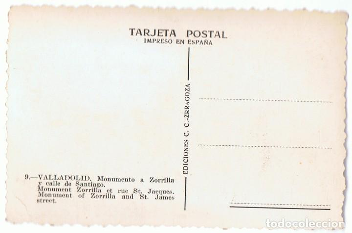 Postales: POSTAL VALLADOLID MONUMENTO A ZORRILLA Nº 9 - Foto 2 - 110021491