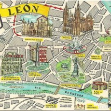 Postales: LEON .- PLANO DE LA CIUDAD .- EDICIONES FRESMO Ó FRESNO. Lote 113920979