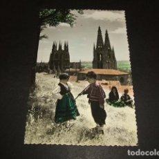 Postales: BURGOS CATEDRAL CON TIPOS SERRANOS BURGALESES EDICIONES SICILIA COLOREADA. Lote 116191859