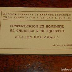 Postales: CUADERNILLO DE 20 POSTALES DE LA SECCIÓN FEMENINA, FALANGE. CONCENTRACION EN HOMENAJE AL CAUDILLO ME. Lote 118389727