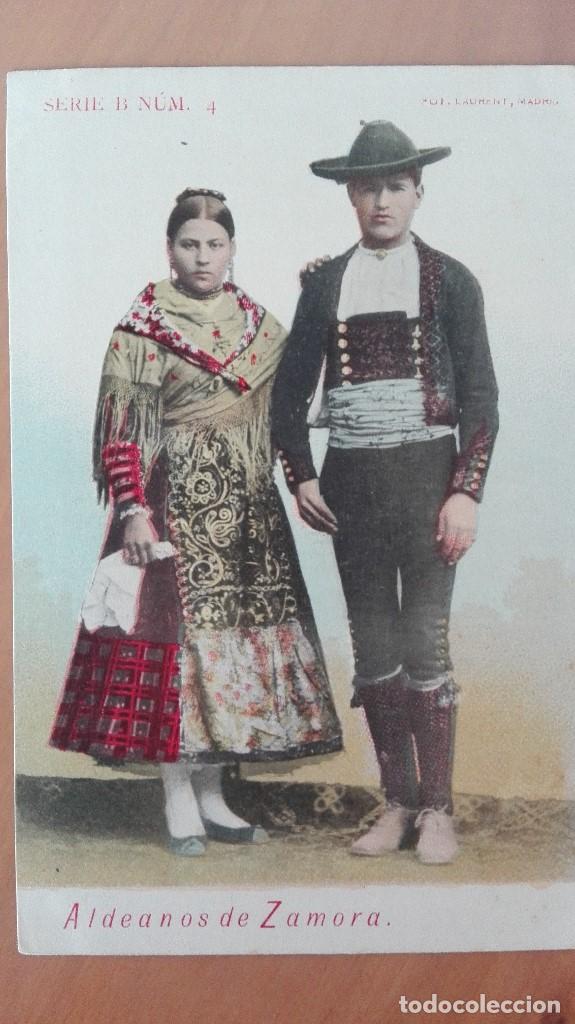 POSTAL TIPOS ZAMORANOS ALDEANOS DE ZAMORA SERIE B Nº 4 FOTOT LAURENT MADRID COLOR PERFECTA CASTILLA (Postales - España - Castilla y León Antigua (hasta 1939))