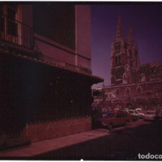 Postales: NEGATIVO EN COLOR DE POSTAL DE BURGOS AÑOS 60-70:RESTAURANTE PUERTA REAL. PLAZA DEL REY. Lote 133152550